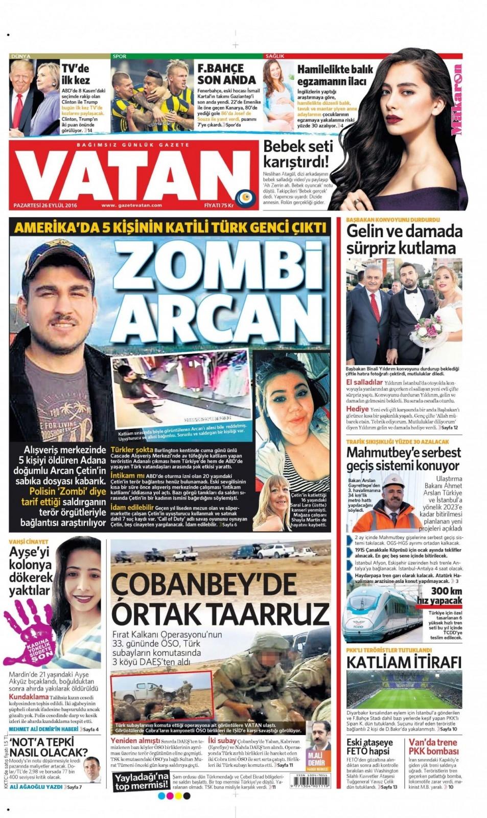 26 Eylül Pazartesi gazete manşetleri 12