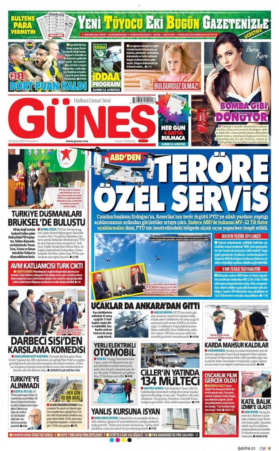 26 Eylül Pazartesi gazete manşetleri 16