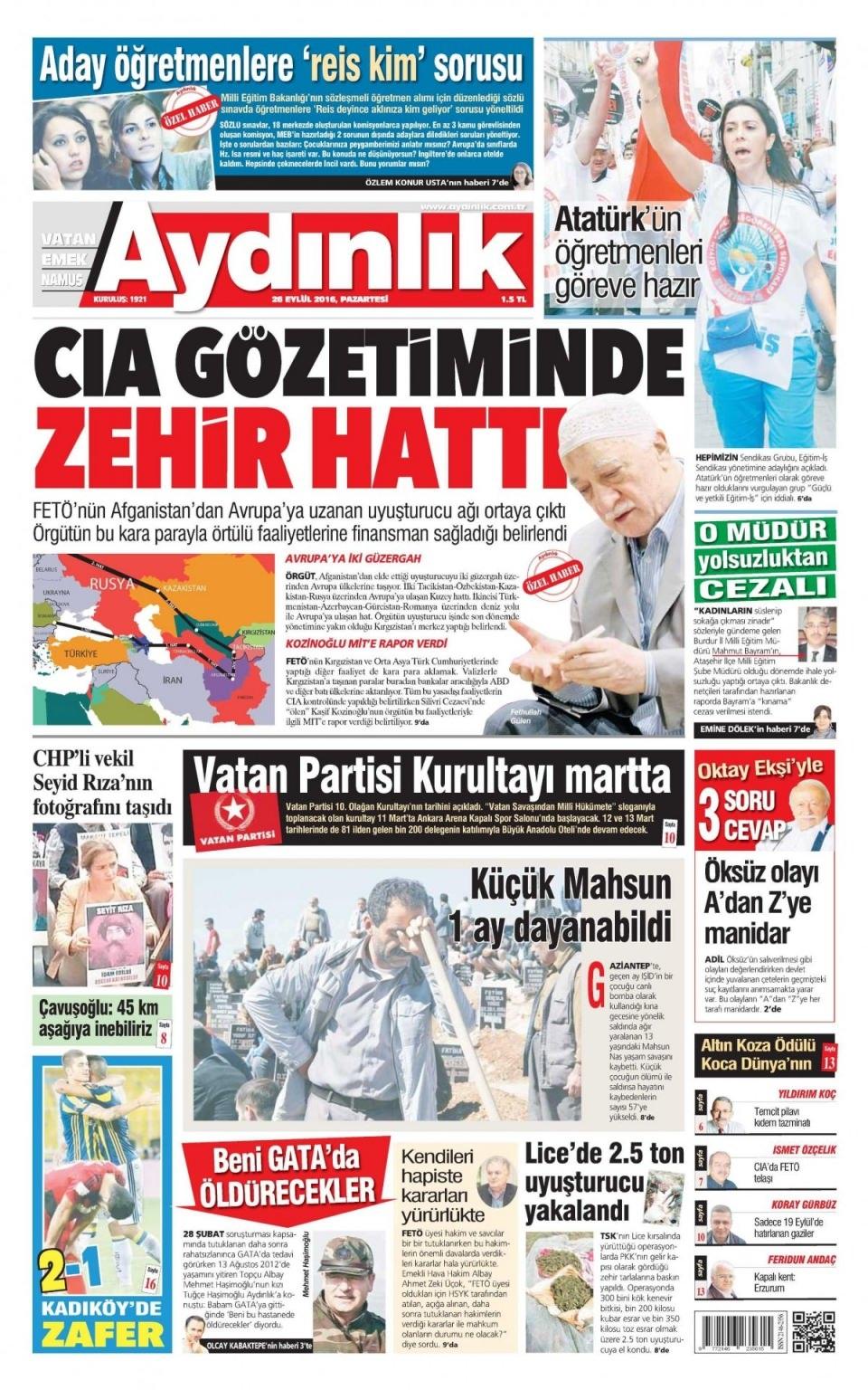 26 Eylül Pazartesi gazete manşetleri 17