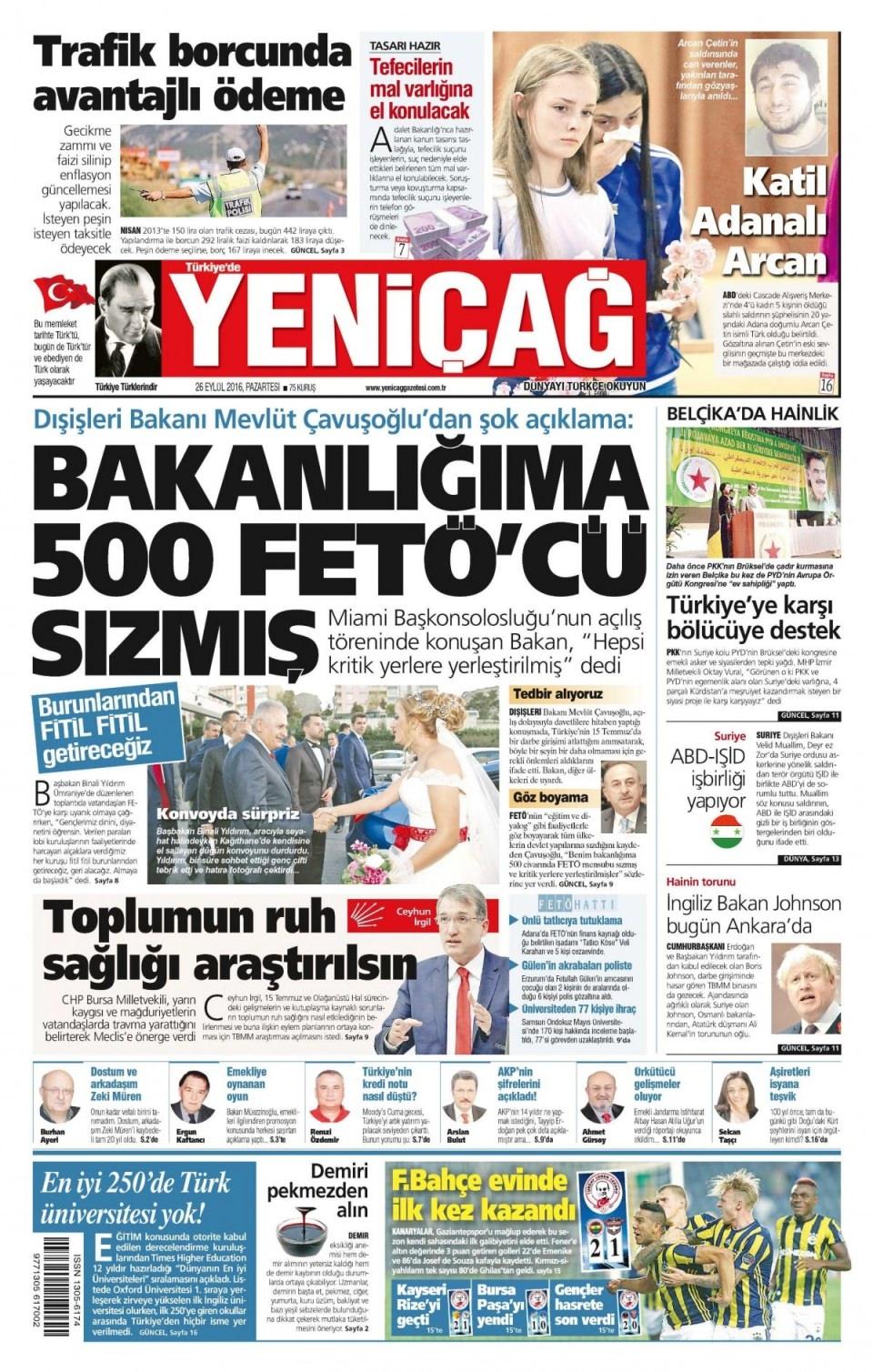 26 Eylül Pazartesi gazete manşetleri 19
