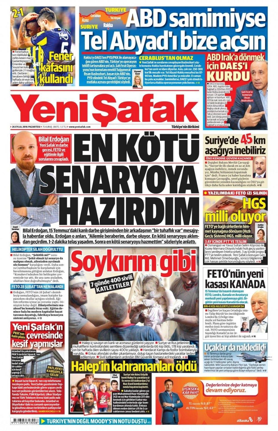 26 Eylül Pazartesi gazete manşetleri 2