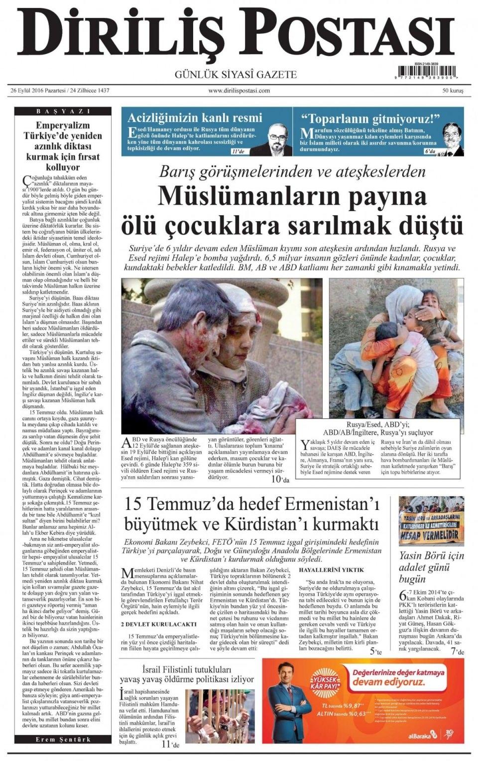 26 Eylül Pazartesi gazete manşetleri 20