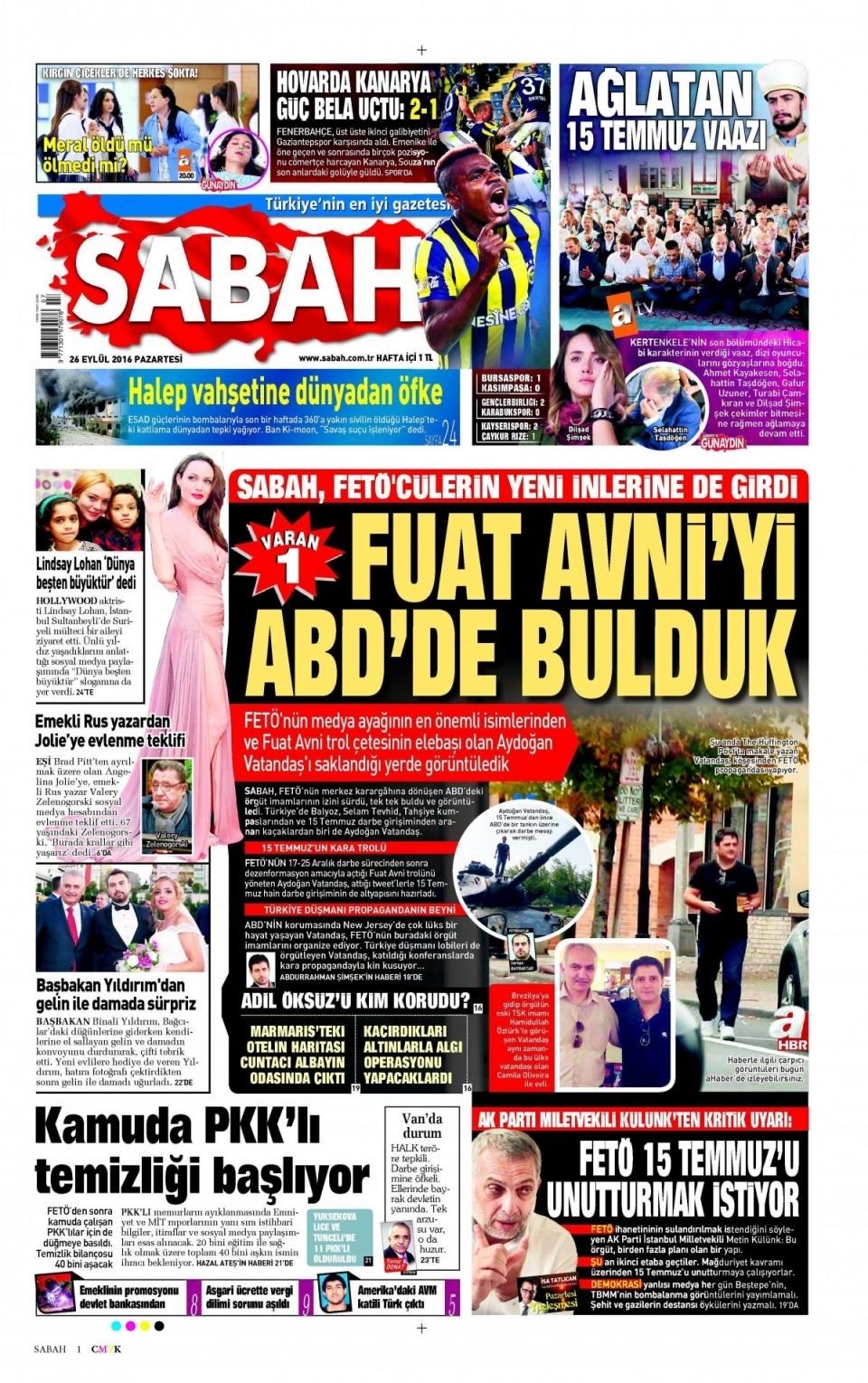 26 Eylül Pazartesi gazete manşetleri 3