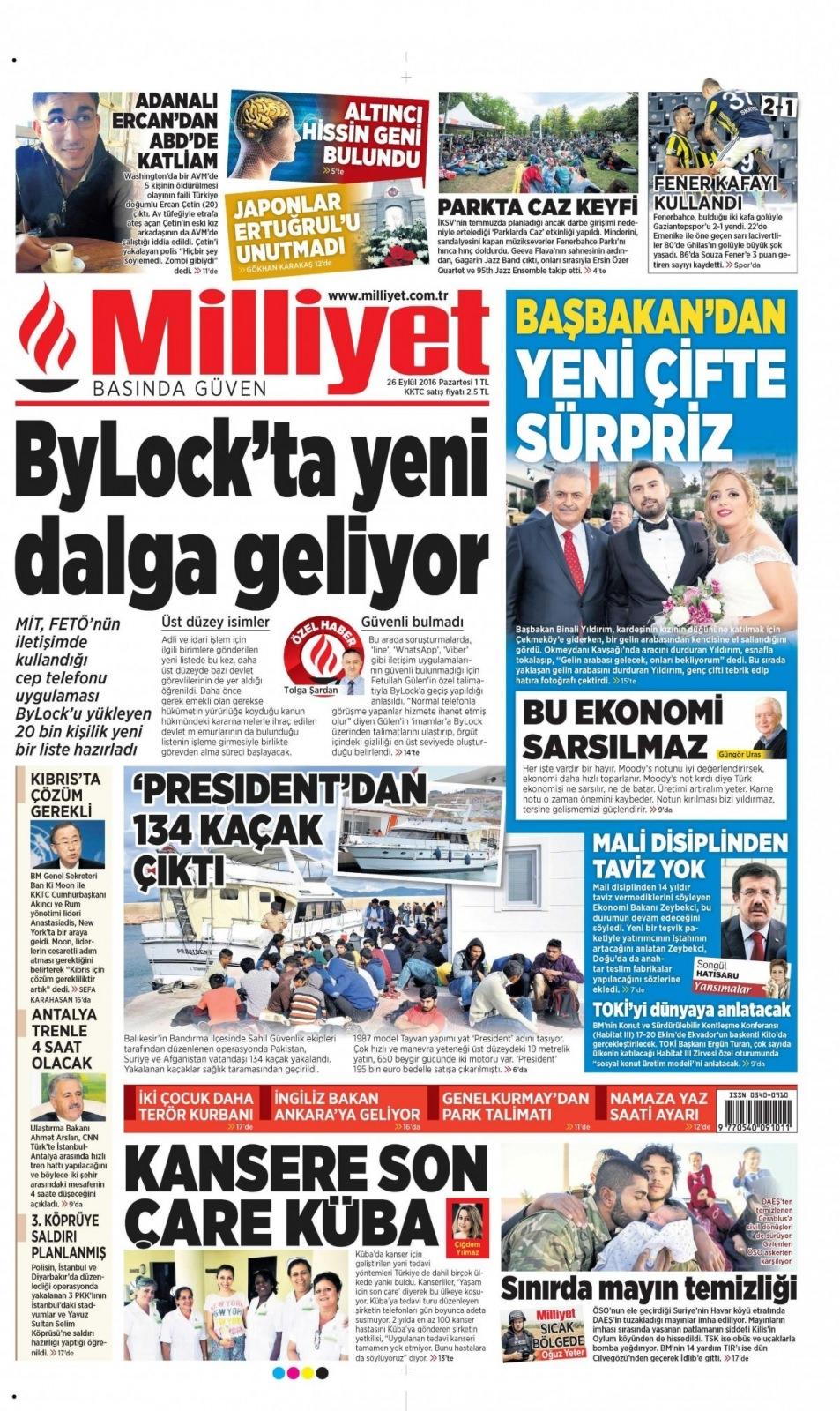 26 Eylül Pazartesi gazete manşetleri 4