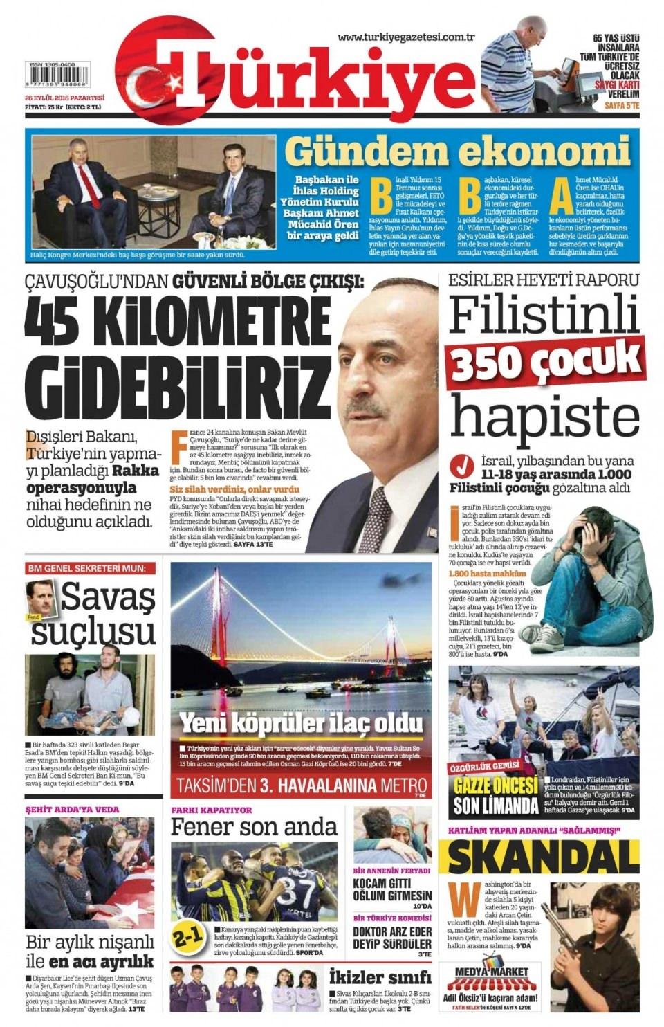 26 Eylül Pazartesi gazete manşetleri 5