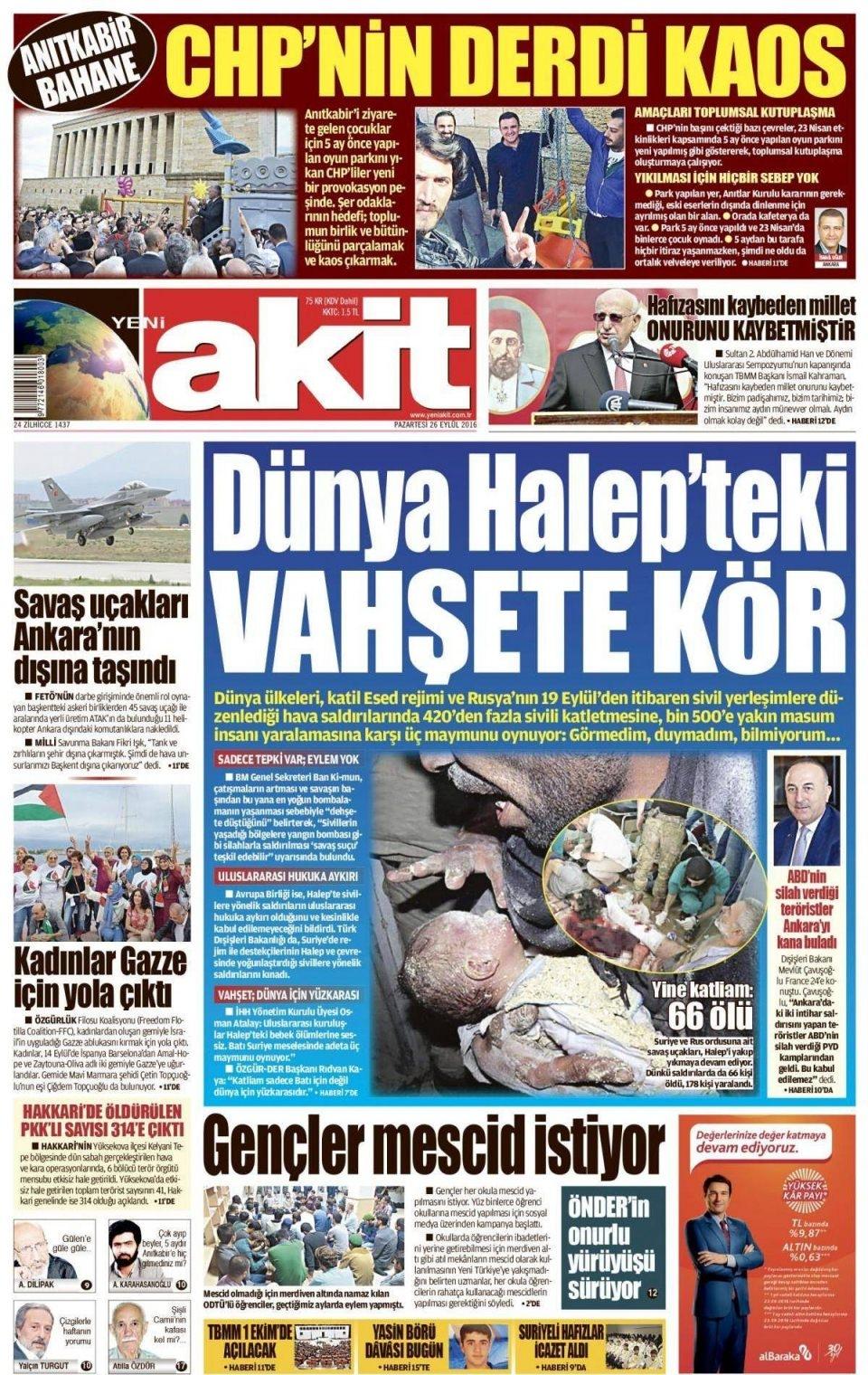 26 Eylül Pazartesi gazete manşetleri 6