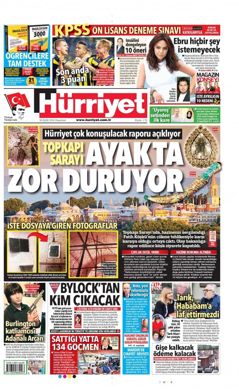 26 Eylül Pazartesi gazete manşetleri 7