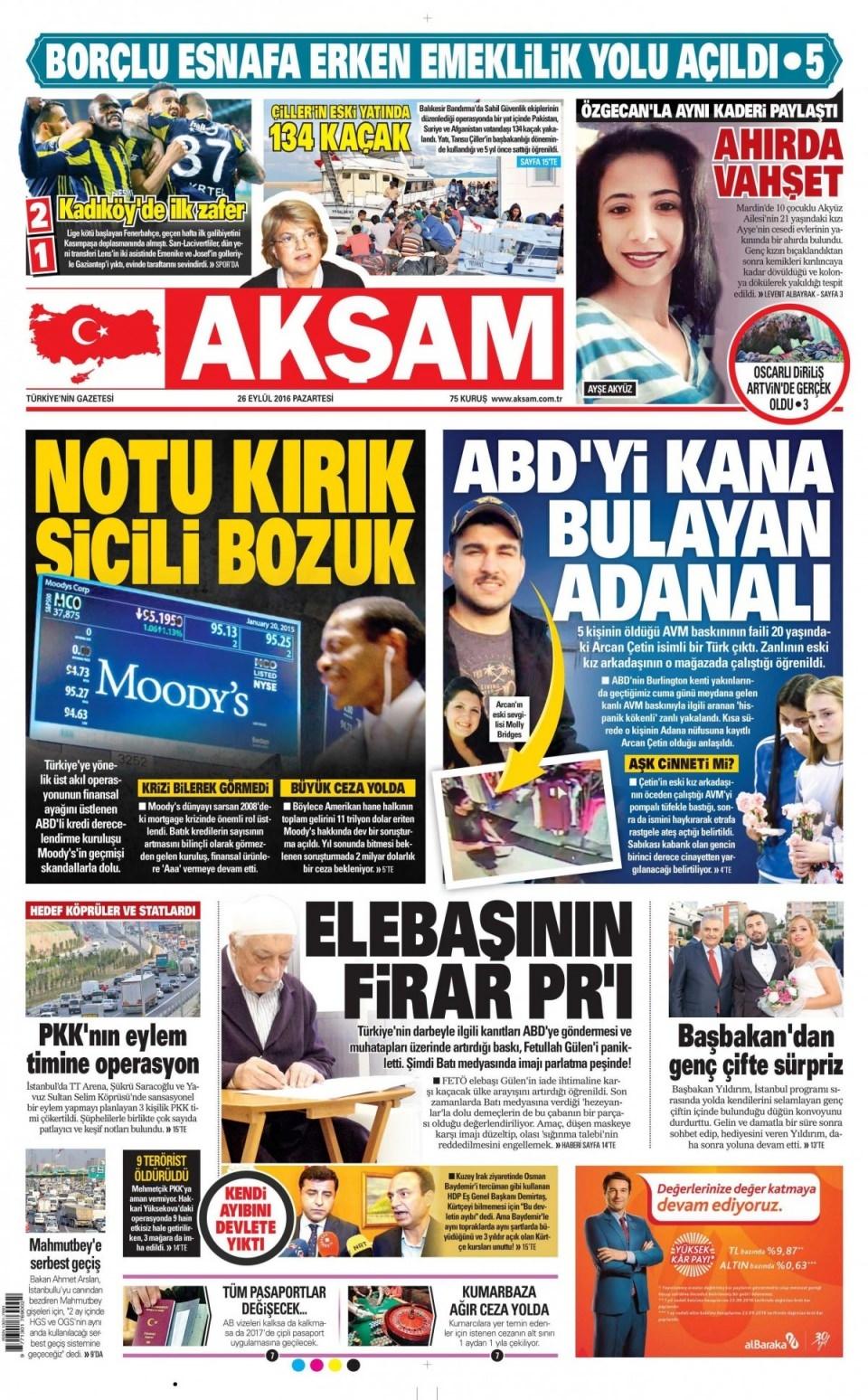 26 Eylül Pazartesi gazete manşetleri 9