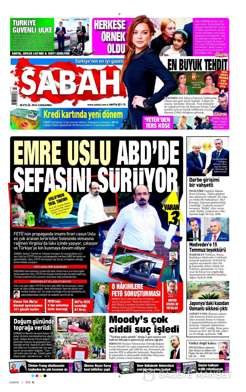 28 Eylül Çarşamba gazete manşetleri 1