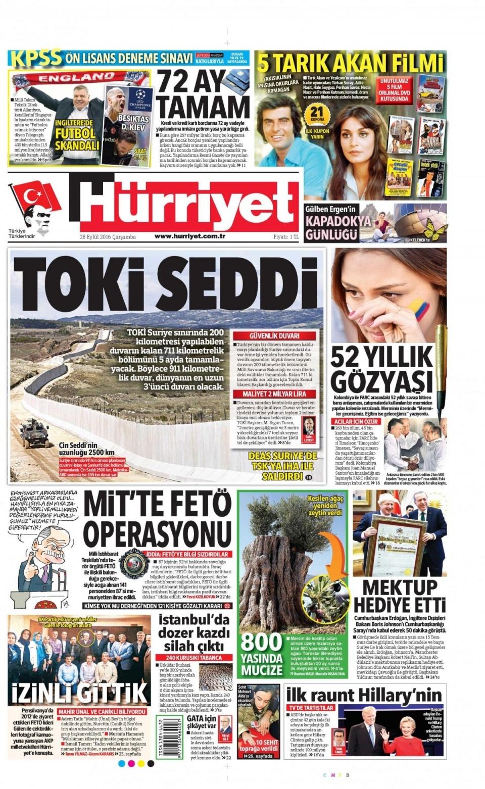 28 Eylül Çarşamba gazete manşetleri 10