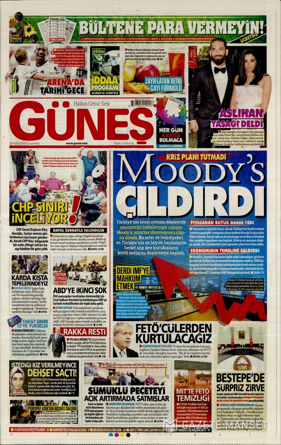 28 Eylül Çarşamba gazete manşetleri 12