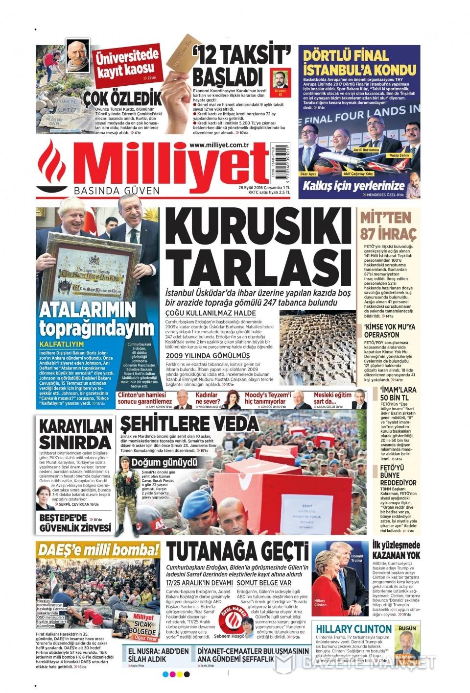 28 Eylül Çarşamba gazete manşetleri 13