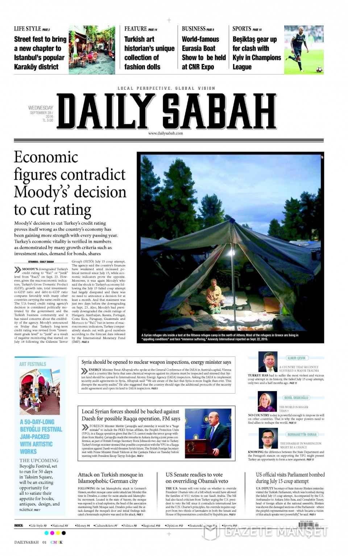 28 Eylül Çarşamba gazete manşetleri 14