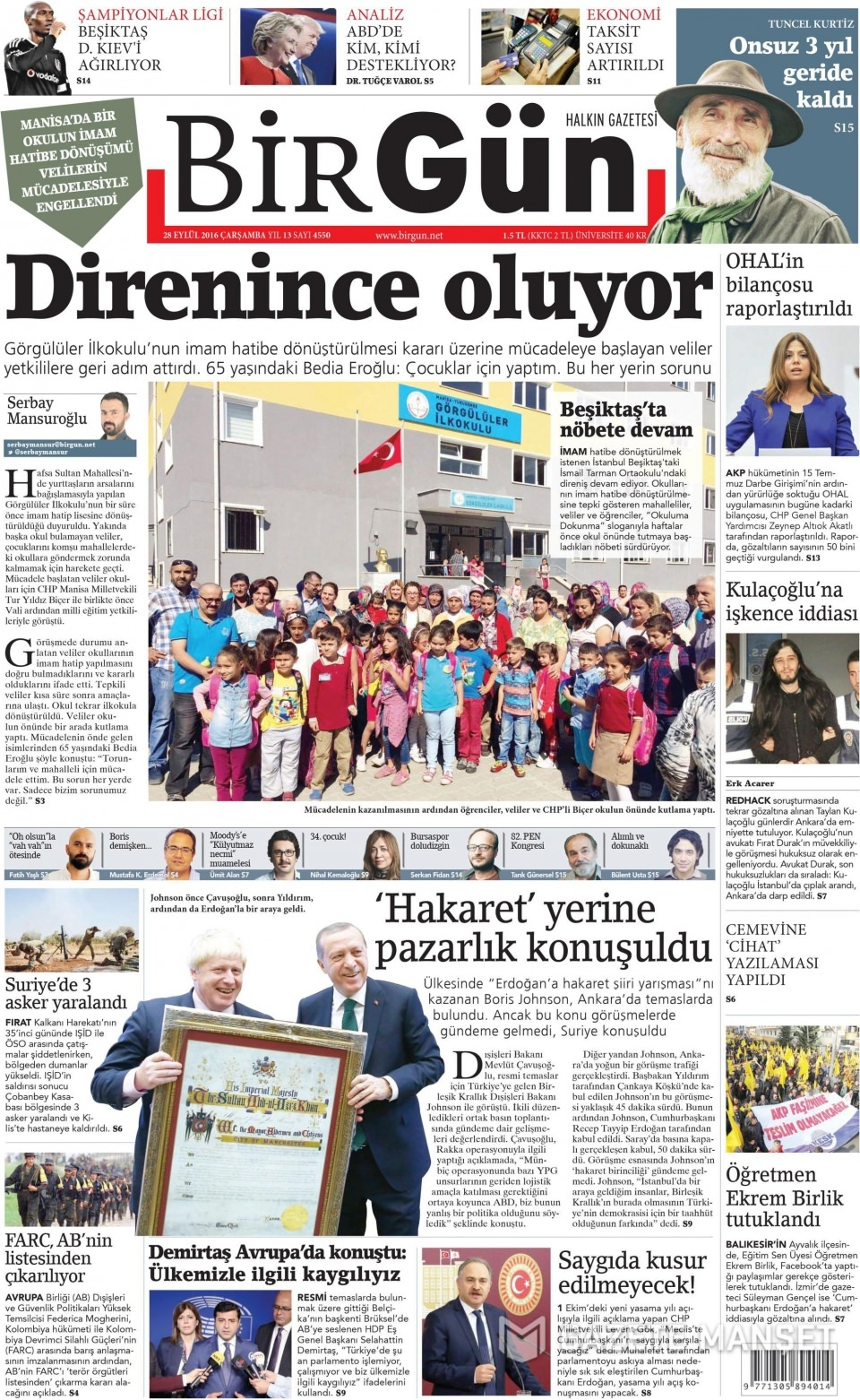 28 Eylül Çarşamba gazete manşetleri 15