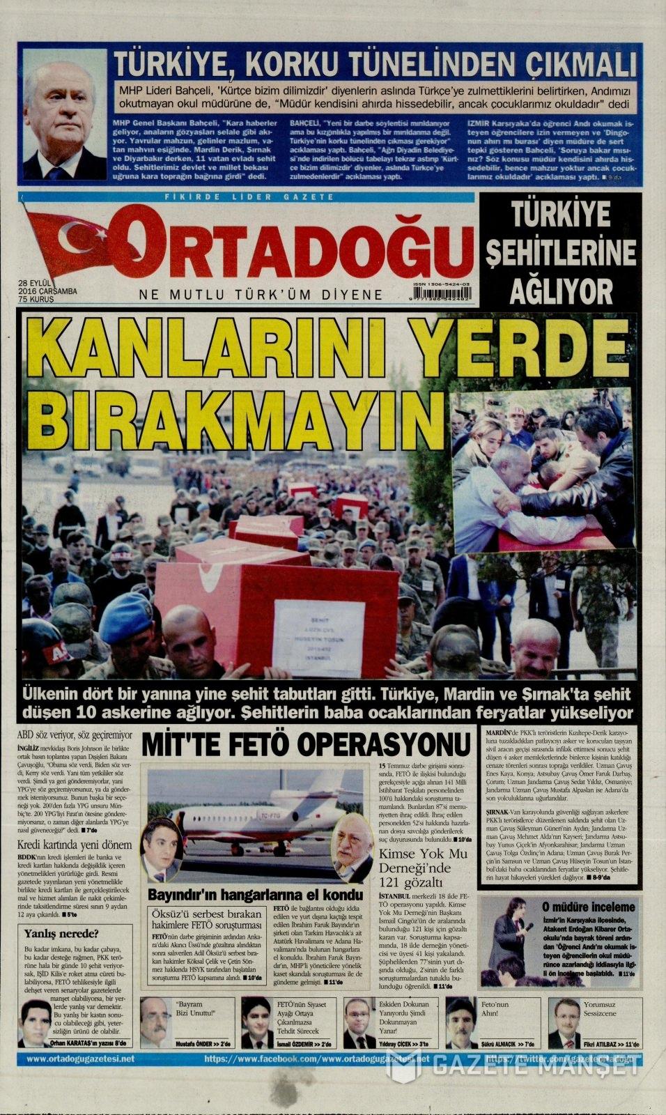 28 Eylül Çarşamba gazete manşetleri 16