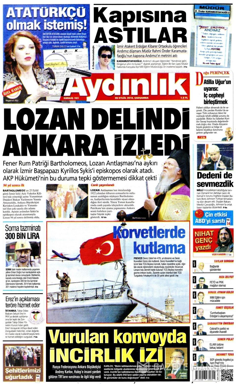 28 Eylül Çarşamba gazete manşetleri 17