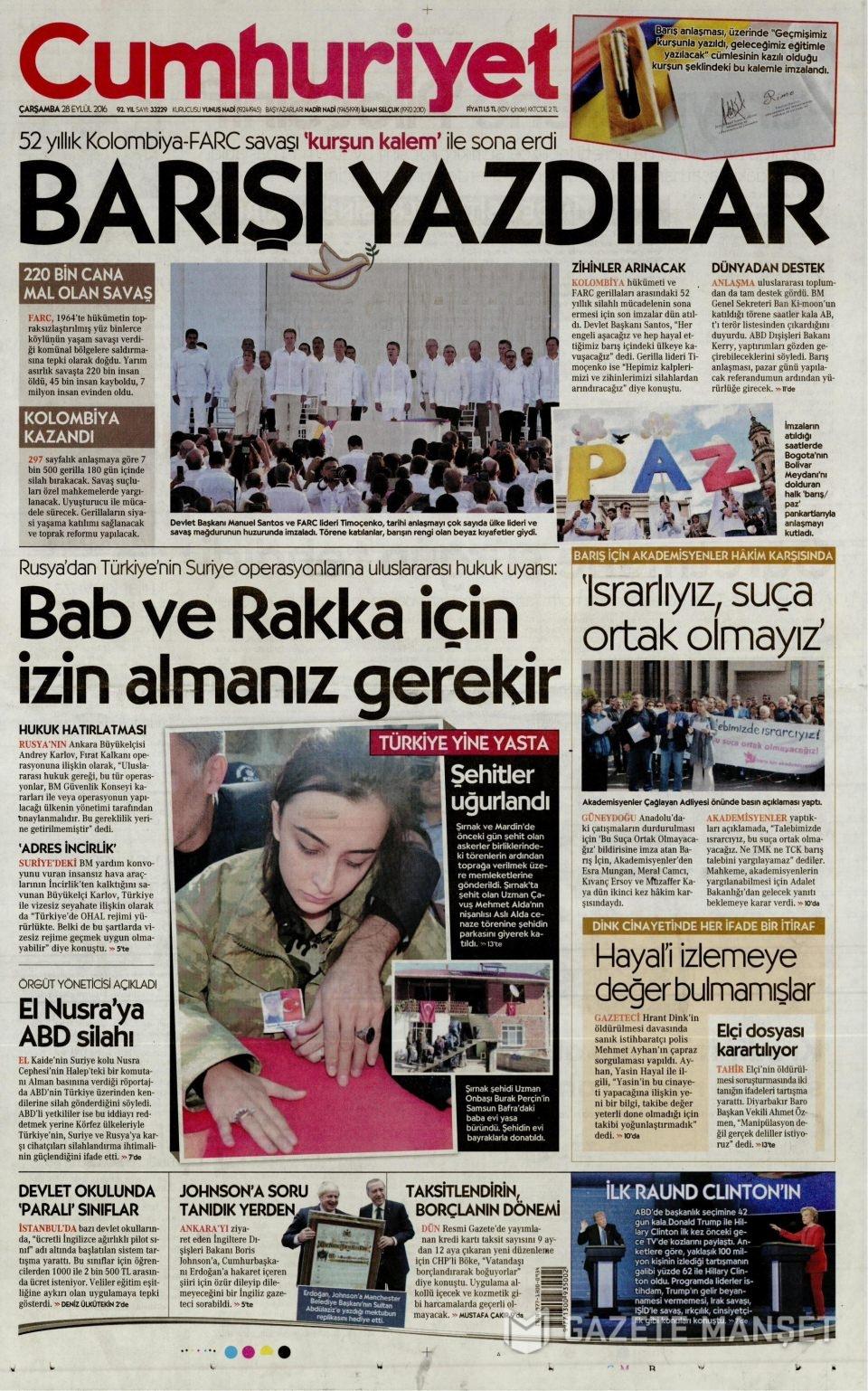 28 Eylül Çarşamba gazete manşetleri 19