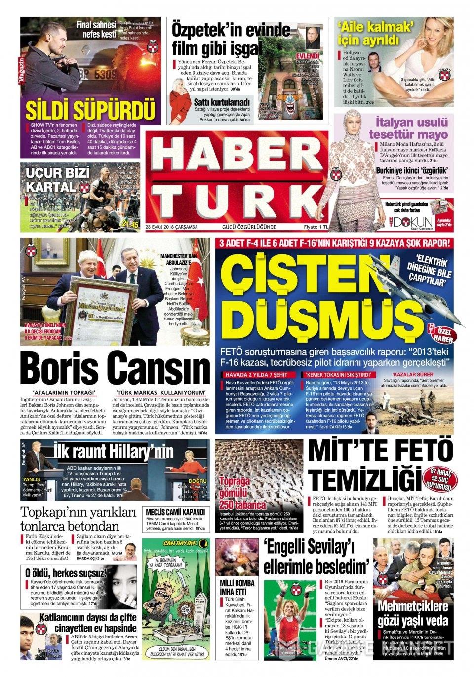 28 Eylül Çarşamba gazete manşetleri 2