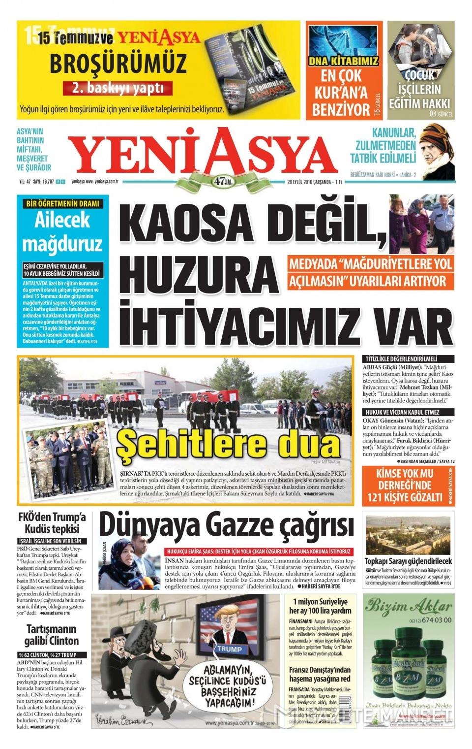 28 Eylül Çarşamba gazete manşetleri 23