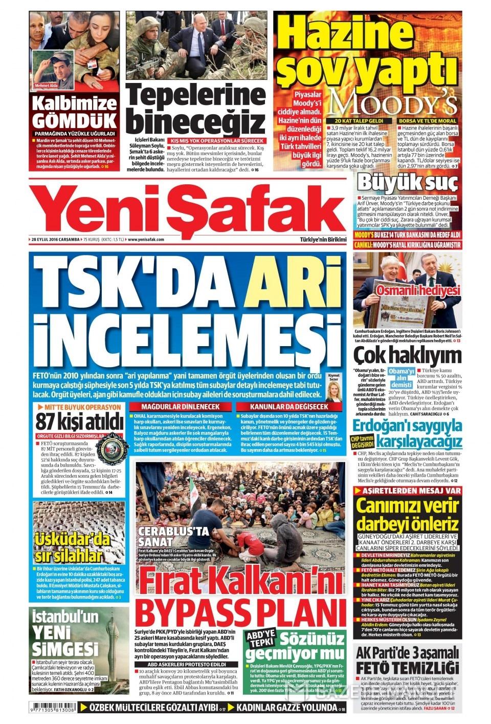 28 Eylül Çarşamba gazete manşetleri 3