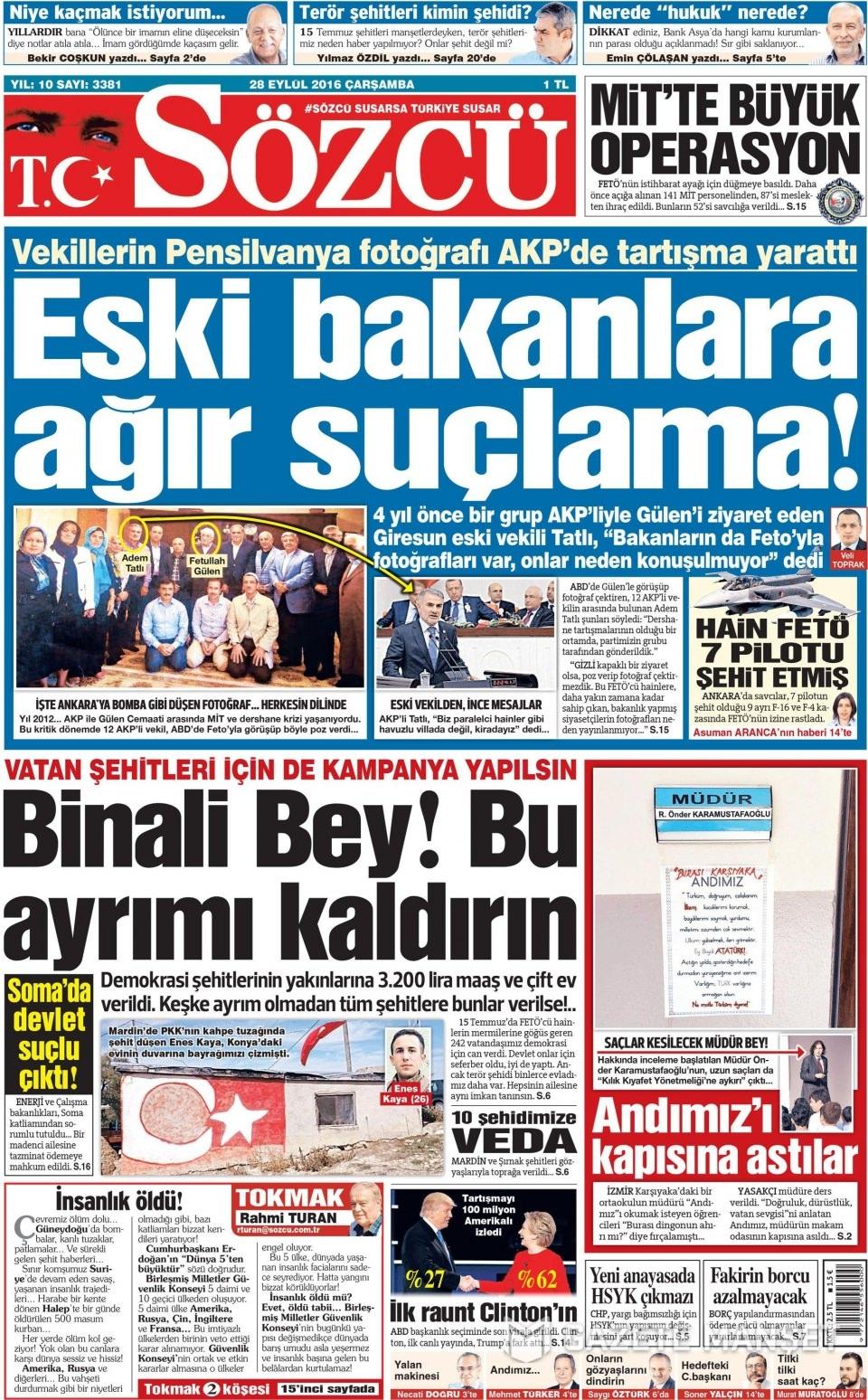 28 Eylül Çarşamba gazete manşetleri 6