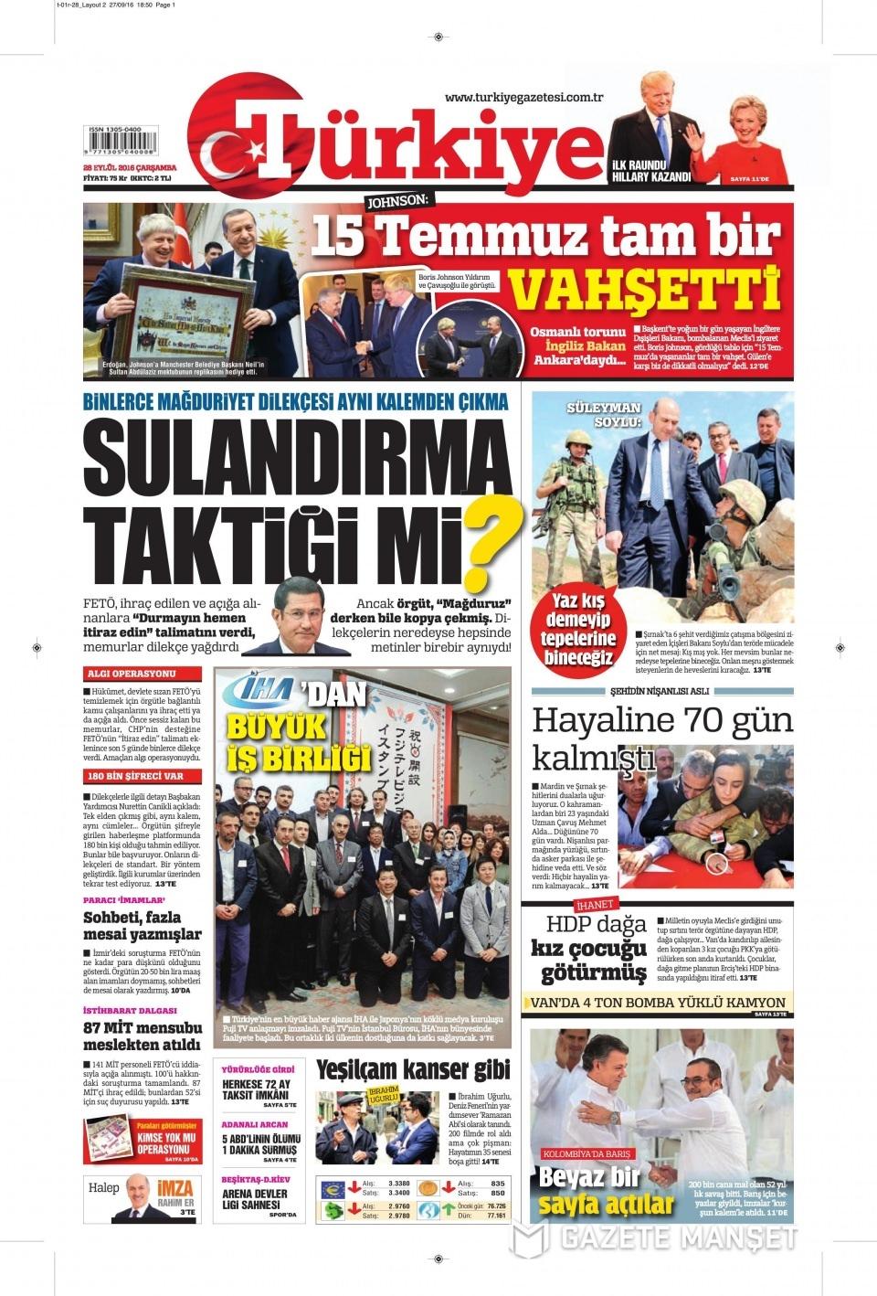 28 Eylül Çarşamba gazete manşetleri 7