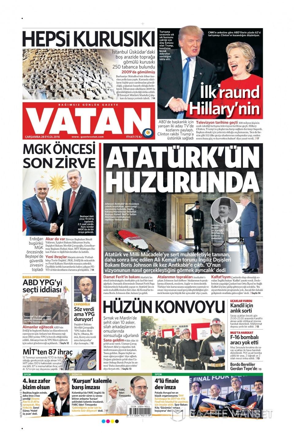 28 Eylül Çarşamba gazete manşetleri 8