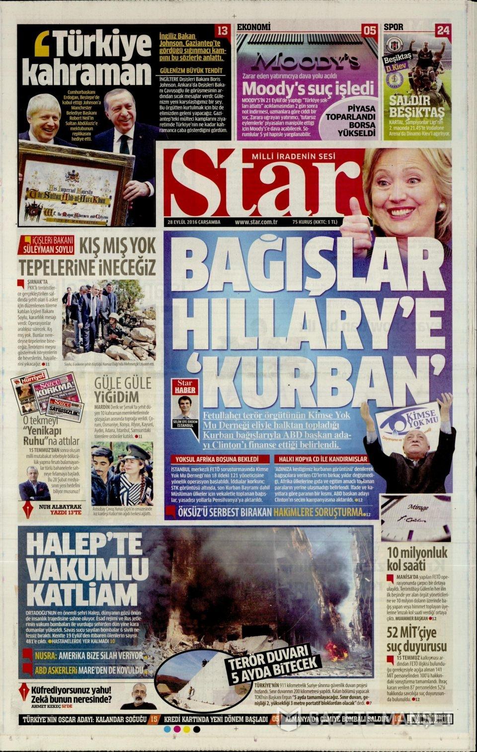 28 Eylül Çarşamba gazete manşetleri 9