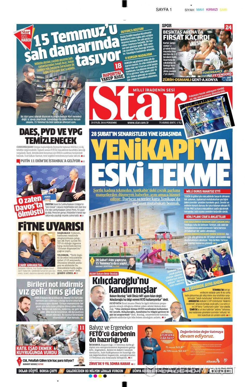 29 Eylül Perşembe gazete manşetleri 1