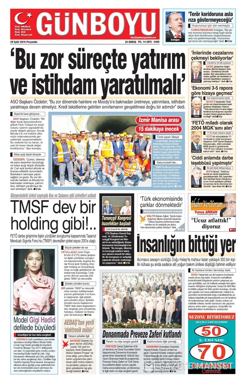 29 Eylül Perşembe gazete manşetleri 10