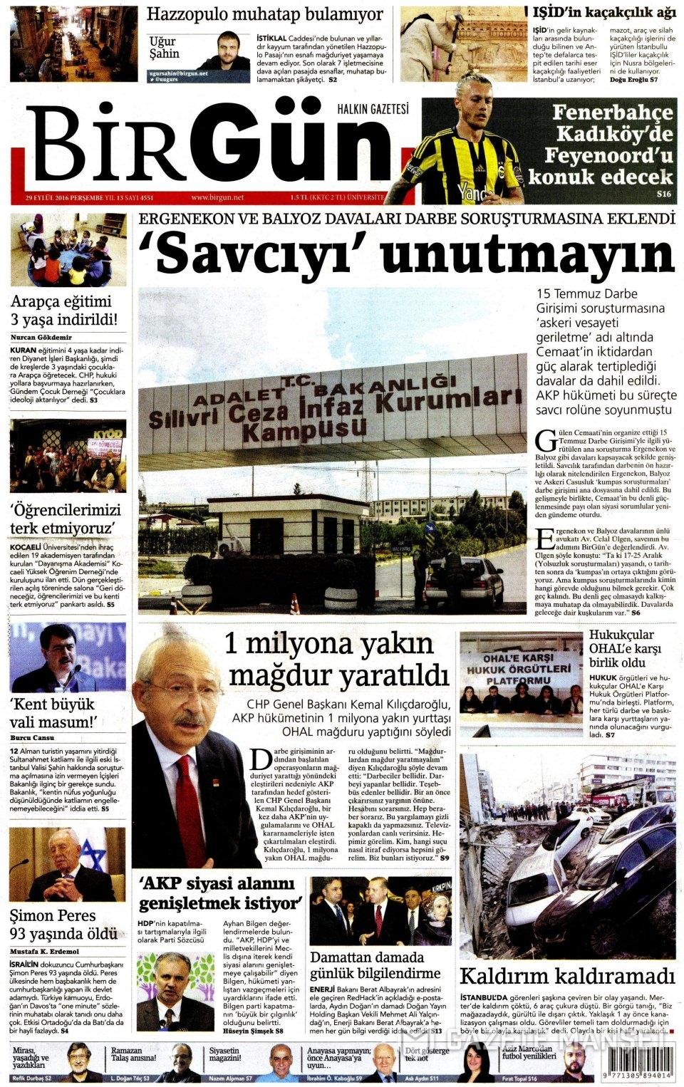 29 Eylül Perşembe gazete manşetleri 11