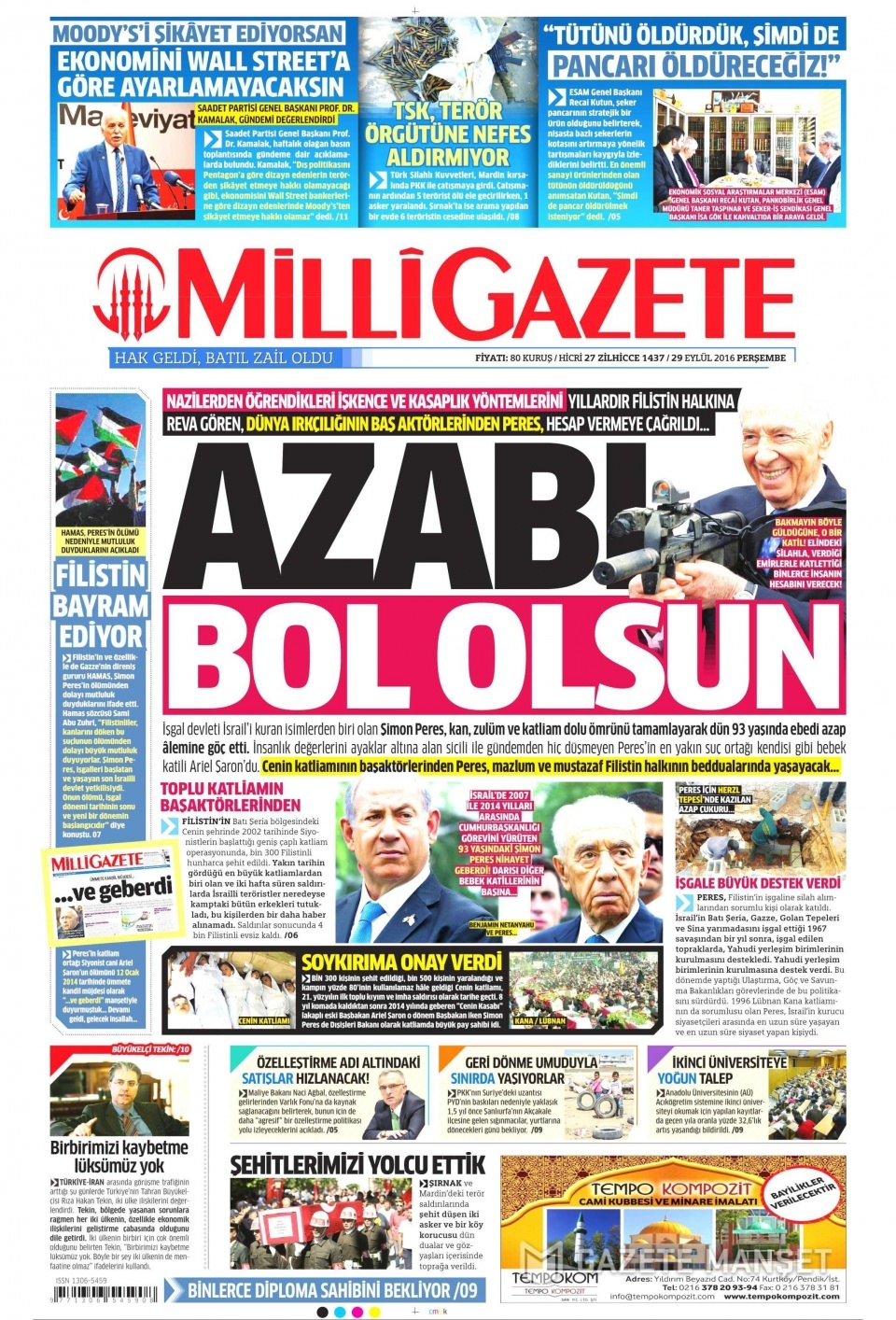 29 Eylül Perşembe gazete manşetleri 13