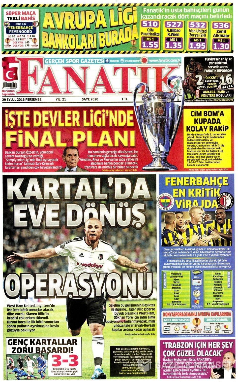 29 Eylül Perşembe gazete manşetleri 14