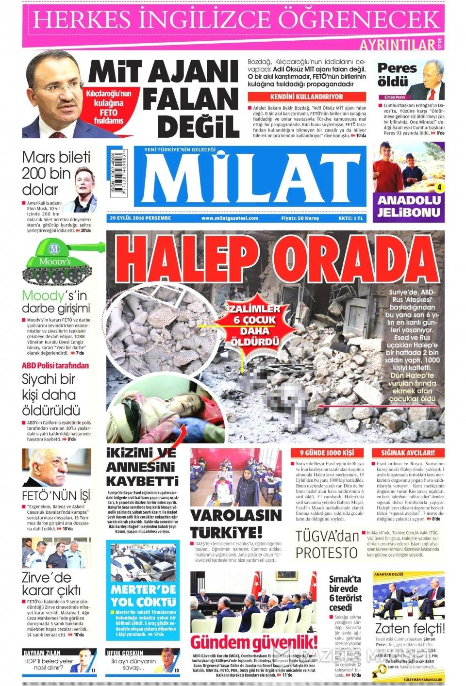 29 Eylül Perşembe gazete manşetleri 16