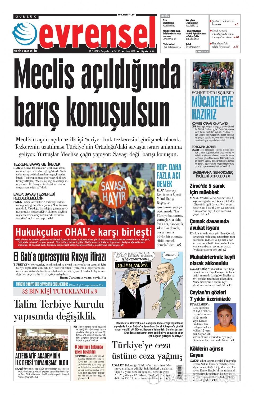 29 Eylül Perşembe gazete manşetleri 17