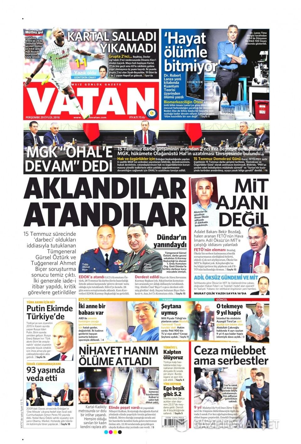 29 Eylül Perşembe gazete manşetleri 2