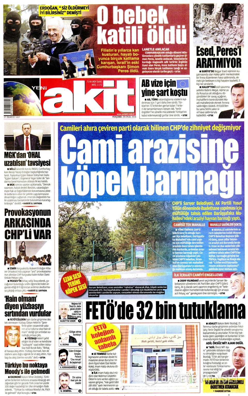 29 Eylül Perşembe gazete manşetleri 4