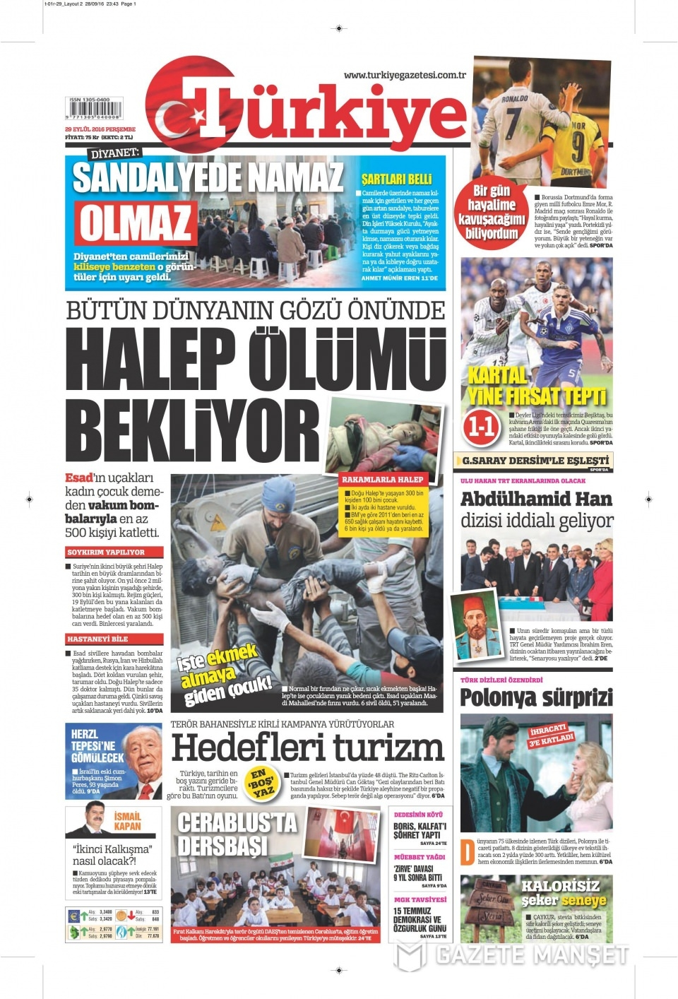 29 Eylül Perşembe gazete manşetleri 6