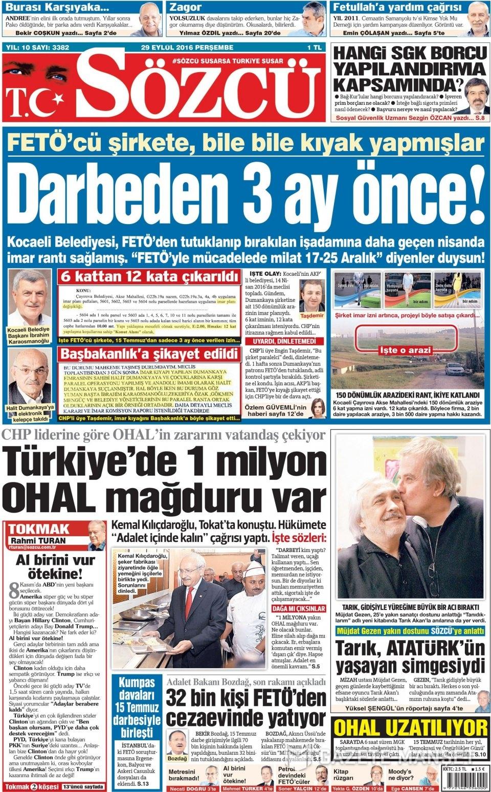 29 Eylül Perşembe gazete manşetleri 7