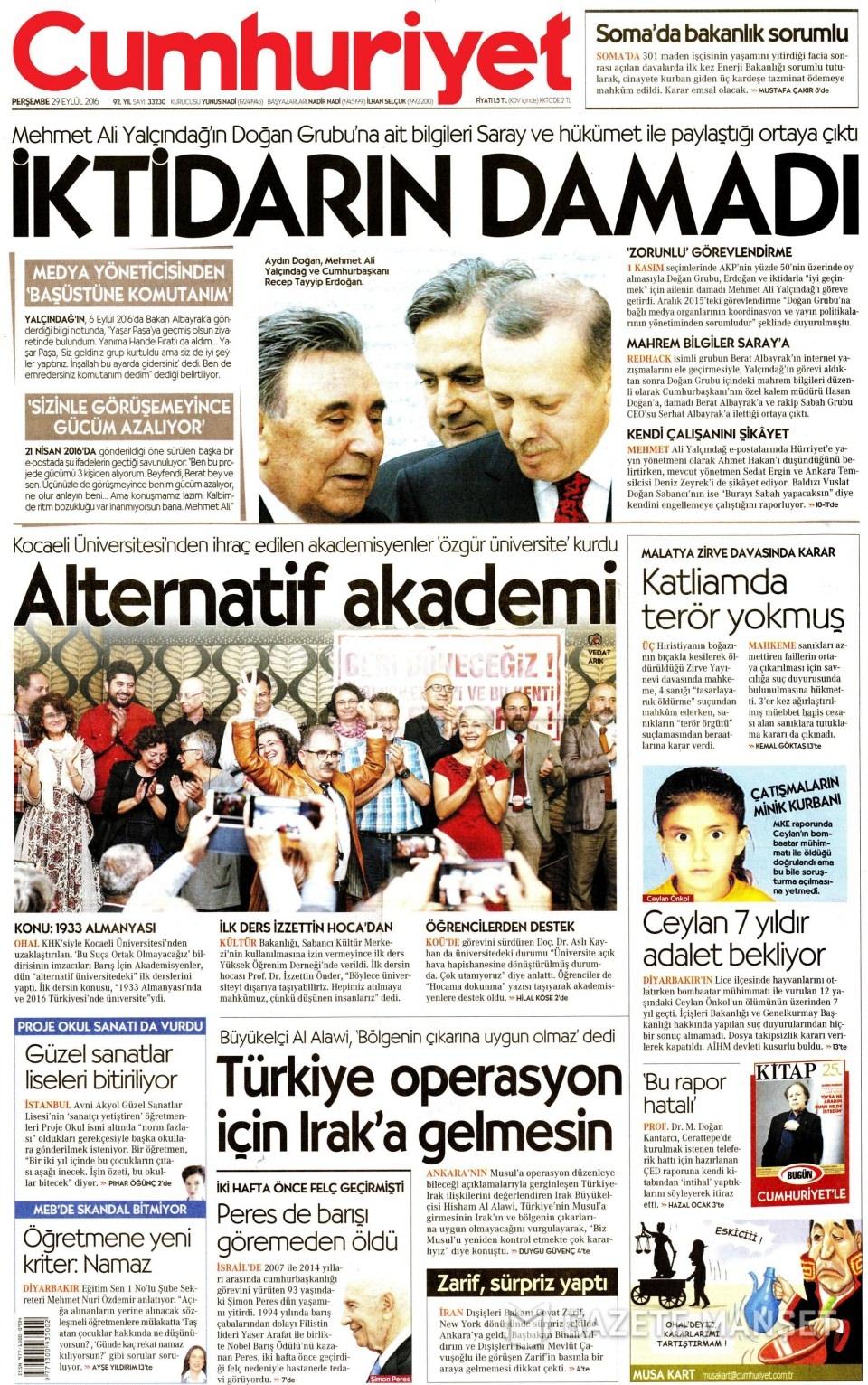 29 Eylül Perşembe gazete manşetleri 8