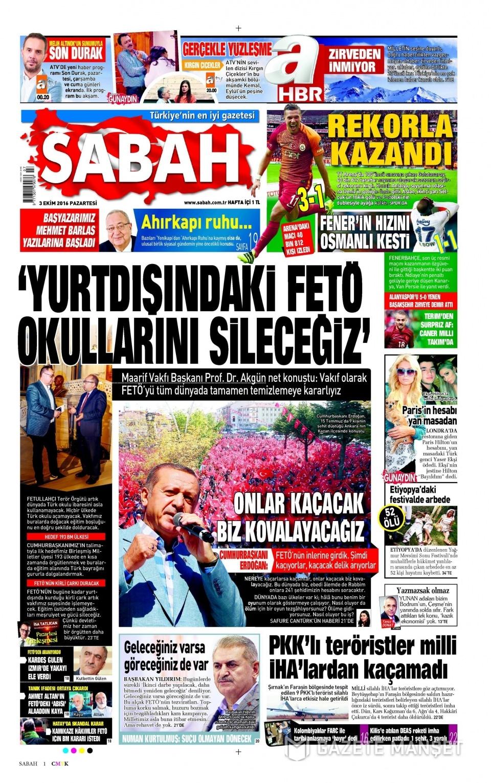 3 Ekim Pazartesi gazete manşetleri 10