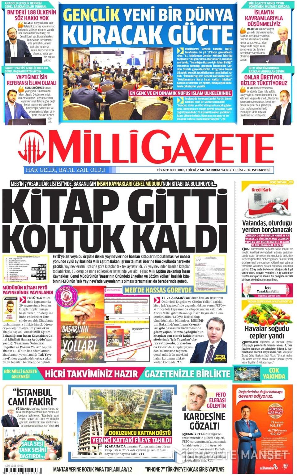 3 Ekim Pazartesi gazete manşetleri 16