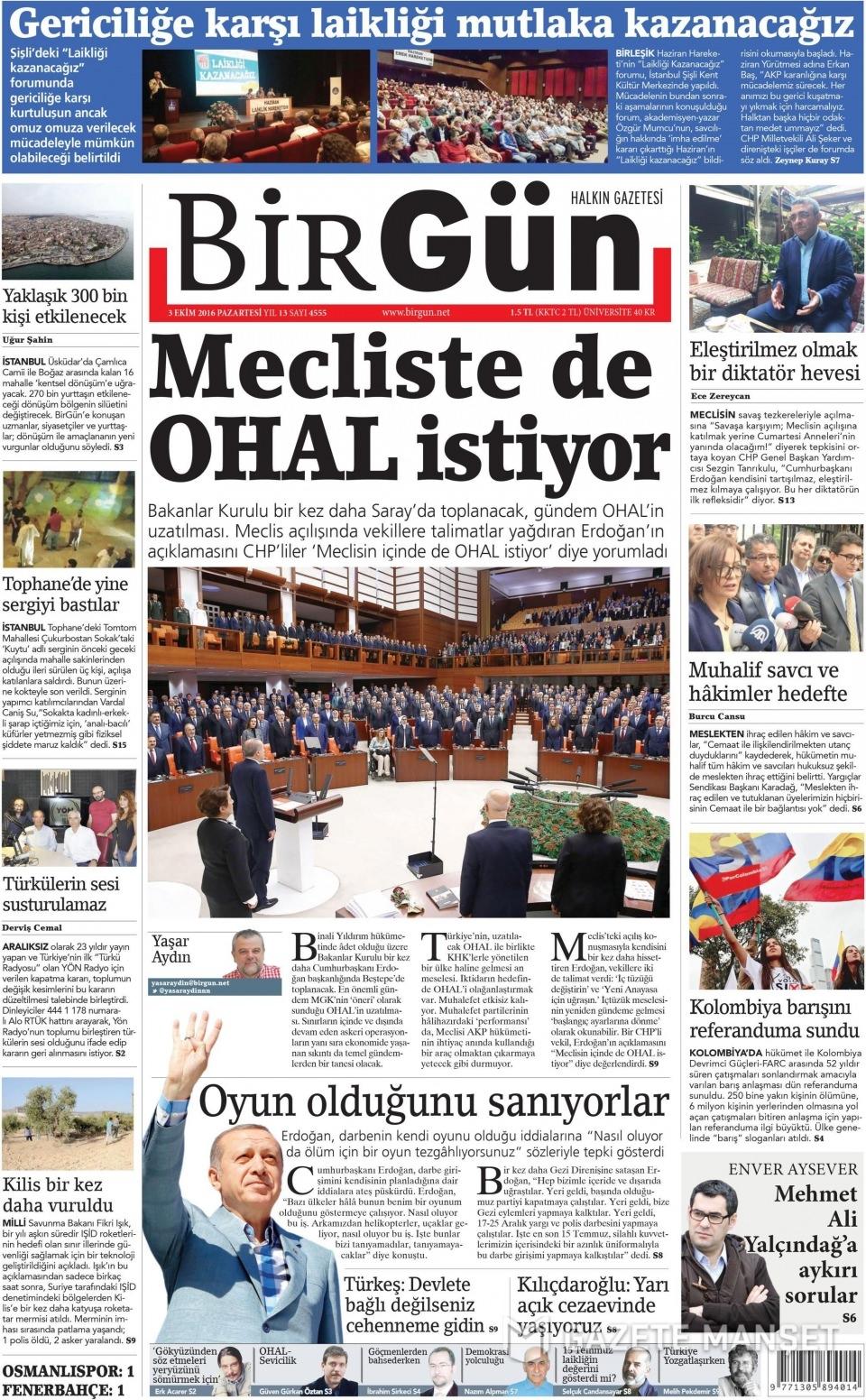 3 Ekim Pazartesi gazete manşetleri 17
