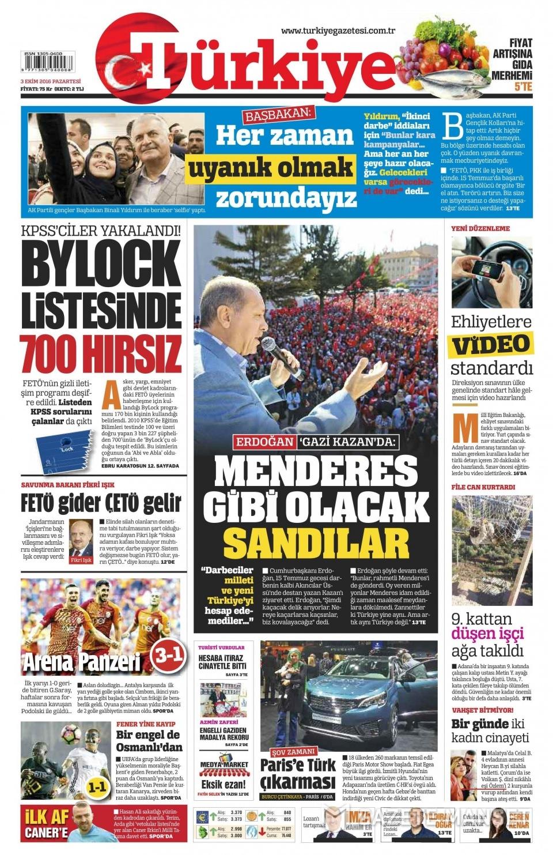 3 Ekim Pazartesi gazete manşetleri 3