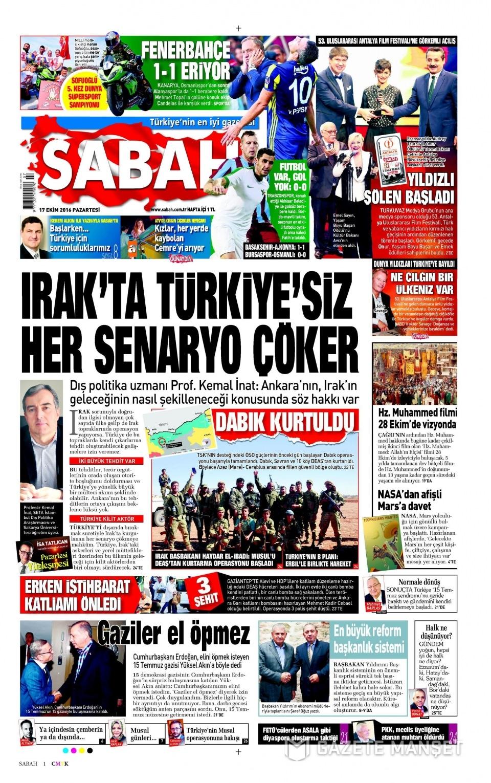 17 Ekim Pazartesi gazete manşetleri 1