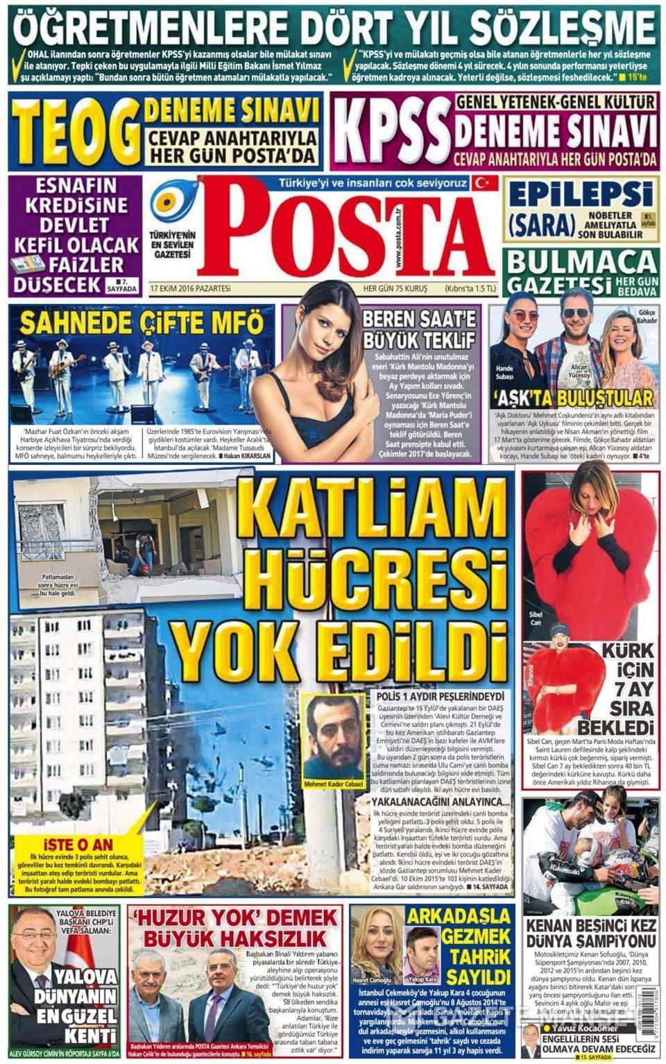 17 Ekim Pazartesi gazete manşetleri 16
