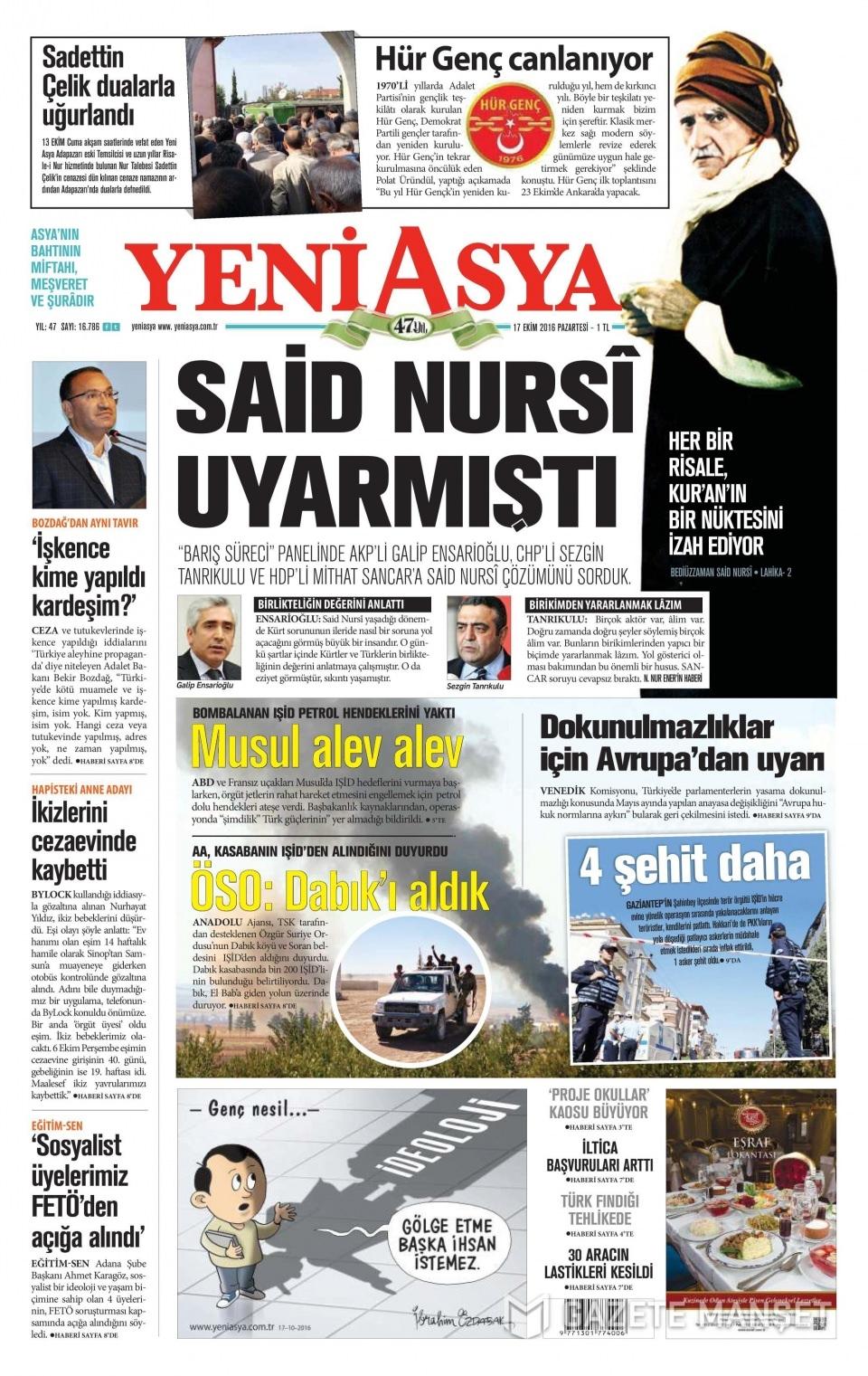 17 Ekim Pazartesi gazete manşetleri 18