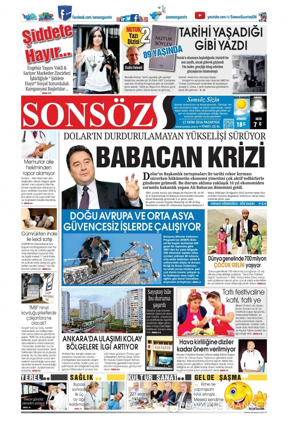 17 Ekim Pazartesi gazete manşetleri 21
