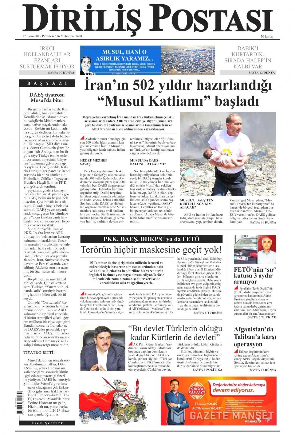 17 Ekim Pazartesi gazete manşetleri 22