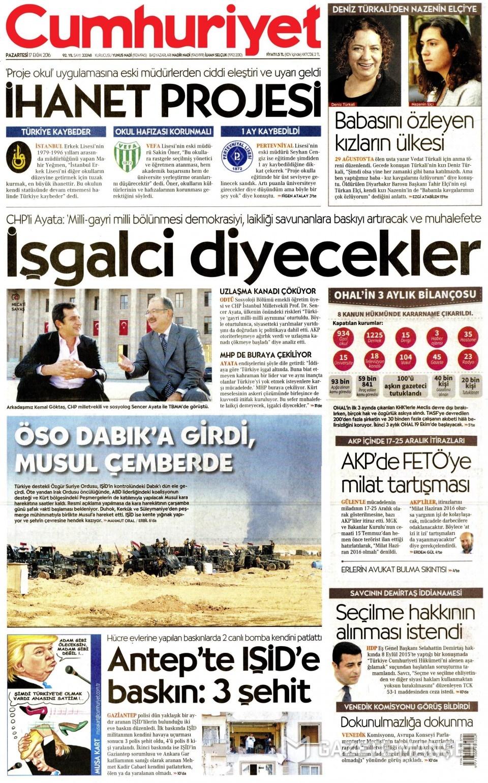 17 Ekim Pazartesi gazete manşetleri 23
